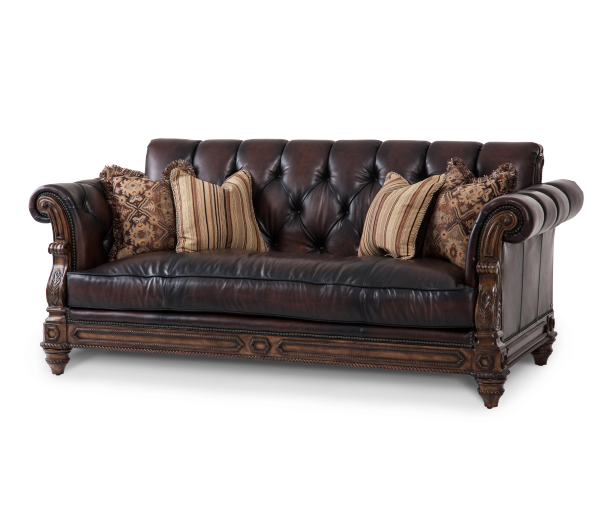 Leather sofa opt1 jacob furniture for Aico trevi leather armless chaise in brown